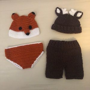 Two crocheted NB photo outfits